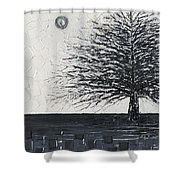 Black And White Snow Cold Winter Tree Shower Curtain