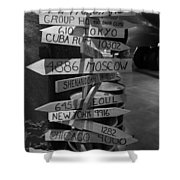 Black And White World Directions Shower Curtain