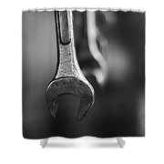 Black And White Wrenches Shower Curtain
