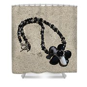 Black Banded Onyx Wire Wrapped Flower Pendant Necklace 3634 Shower Curtain