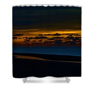 Black Beach With Orange Sky Shower Curtain