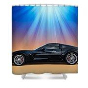 Black C6 Shower Curtain