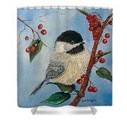 Black Capped Chickadee And Winterberries Shower Curtain