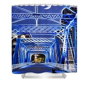 Black Cat Blue Bridge Shower Curtain