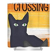 Black Cat Crossing Shower Curtain by Linda Woods