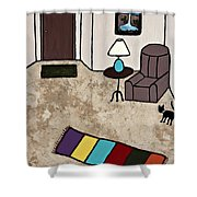 Essence Of Home - Black Cat Entering Living Room Shower Curtain