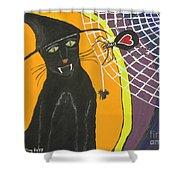 Black Cat In A Hat  Shower Curtain