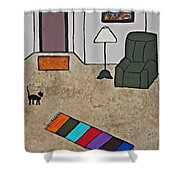 Essence Of Home - Black Cat In Living Room Shower Curtain