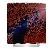 Black Cat In The Moonlight Shower Curtain