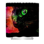 Black Cat Neon Shower Curtain