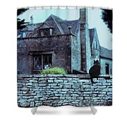 Black Cat On A Stone Wall By House Shower Curtain
