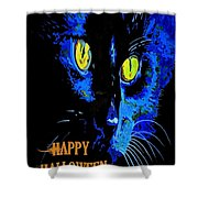 Black Cat Portrait With Happy Halloween Greeting  Shower Curtain
