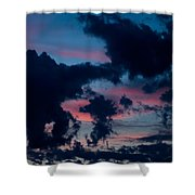Black Clouds Against Sunset Shower Curtain