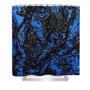 Black Cracks With Blue Shower Curtain