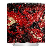 Black Cracks With Red Shower Curtain
