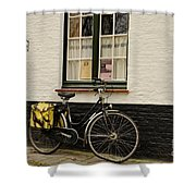 Black Cycle Rests On Window Sill Bruges Belgium Shower Curtain