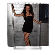 Black Dress Woman Shower Curtain