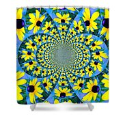 Black Eyed Susan Kaleidoscope Shower Curtain