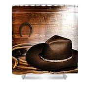 Black Felt Cowboy Hat Shower Curtain