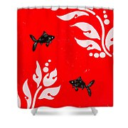 Black Fish Right Shower Curtain