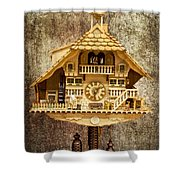 Black Forest Figurine Clock Shower Curtain
