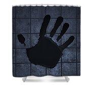 Black Hand Cyan Shower Curtain