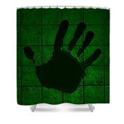 Black Hand Green Shower Curtain