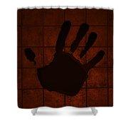 Black Hand Orange Shower Curtain