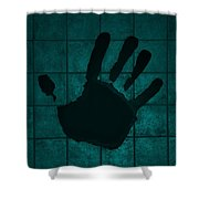 Black Hand Turquoise Shower Curtain