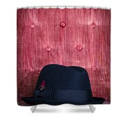 Black Hat On Red Velvet Chair Shower Curtain by Edward Fielding