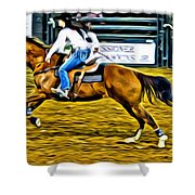 Black Hatted Racer Shower Curtain