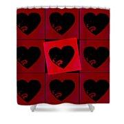 Black Hearts Shower Curtain