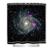 Black Holes In Spiral Galaxy Nasa Shower Curtain by Rose Santuci-Sofranko