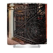 Black Iron And Red Brick Shower Curtain