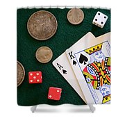 Black Jack And Silver Dollars Shower Curtain