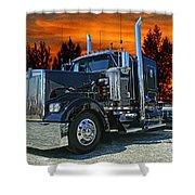 Black Kenworth Shower Curtain
