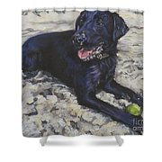 Black Lab On The Beach Shower Curtain