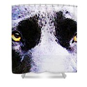 Black Labrador Retriever Dog Art - Lab Eyes Shower Curtain by Sharon Cummings