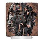 Black Labrador Typography Artwork Shower Curtain