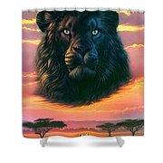 Black Lion Shower Curtain