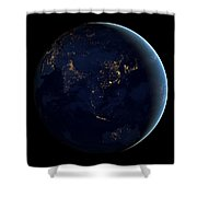 Black Marble - Asia And Australia City Lights Shower Curtain