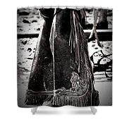 Black N White Chaps Shower Curtain