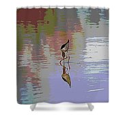 Black Neck Stilt Out In The Pond Shower Curtain