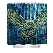 Black Owl On Blue Night Shower Curtain