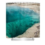 Black Pool In West Thumb Geyser Basin Shower Curtain