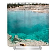 Black Pool In West Thumb Geyser Basin In Yellowstone National Park Shower Curtain