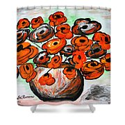 Black Poppies Shower Curtain by Ramona Matei