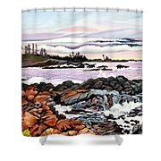Black Rock View Shower Curtain
