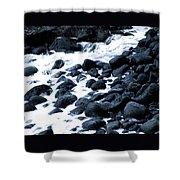 Black Rocks Along The Puna Coast Shower Curtain