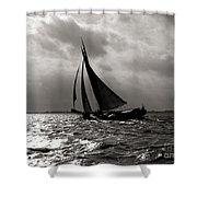 Black Sail Sunset Shower Curtain